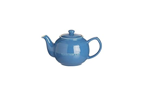 Mason Cash Original Stoneware Teapot and Stainless Steel Infuser Set, 37-Fluid Ounces, Blue