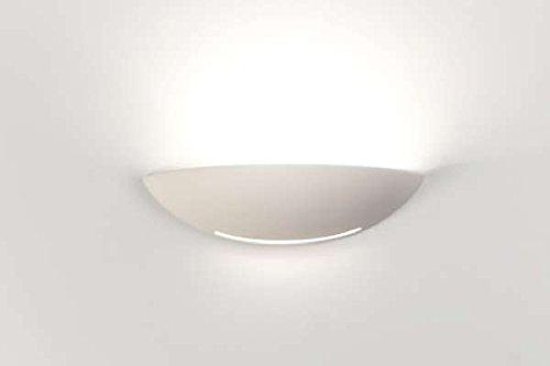 Applique conca lampada da parete 31cm moderno ceramica effetto gesso