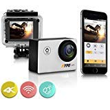Premium 4k WIFI Sports Action Camera | Ultra HD Waterproof Camcorder | 16MP 170° Wide Angle Len | 2 Inch LCD Screen and Full Accessory Kit ( Silver )