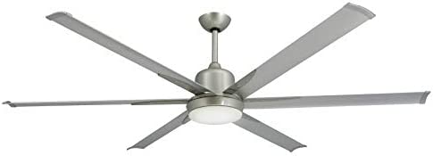 TroposAir Titan Brushed Nickel Large Industrial Ceiling Fan with DC-Motor, 72 Extruded Aluminum Blades, Integrated Light and Remote