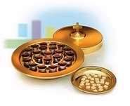 Tone Aluminum Communion Tray Cover - Communion-Brass tone-Communion Bread Plate-Small Group-6-1/8