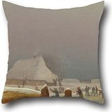 20 X 20 Inch / 50 By 50 Cm Oil Painting Wilhelm Bendz - Winter Lanscape From Funen. Throw Pillow Covers ,each Side Ornament And Gift To Him,bedding,living Room,birthday,car Seat,home