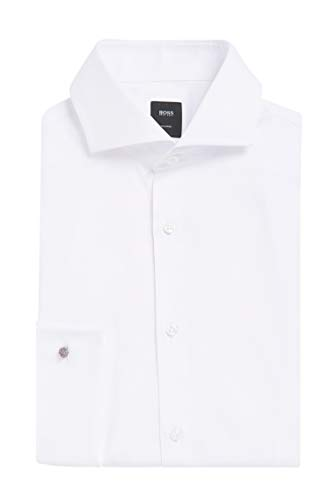 Hugo Boss Men's 'T-Yacob' White Slim Fit Textured Tuxedo Dress Shirt 15.5, 33/34
