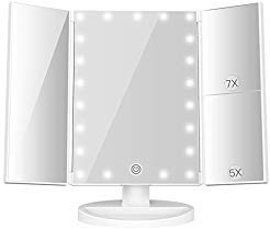 MayBeau Makeup Vanity Mirror with Lights, 7X/5X Magnification Mirror with 21 LED, 180° Rotation Trifold Touch Screen Cosmetic Mirror,Dual Power Supply