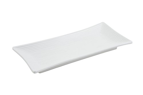 """Bon Chef 9921PWHT Aluminum Asian Fusion Footed Ribbed Platter, 14"""" Length x 6-1/2"""" Width, Sandstone White (Pack of 6)"""