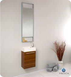 "Senza 15.5"" Pulito Small Modern Bathroom Vanity Set with Tall Mirror Base Finish: Teak"