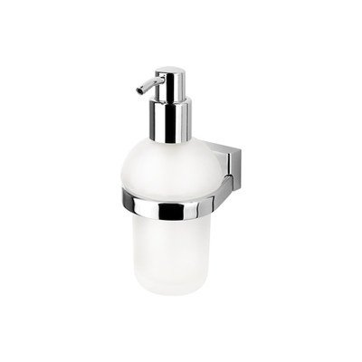 - Geesa 7016-638845267175 BloQ Collection Sleek Frosted Glass Wall-Mount Soap Pump, Chrome