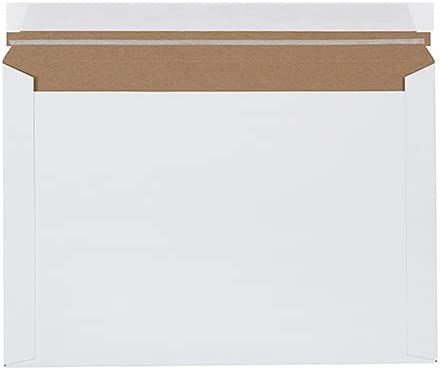 12.5 x 9.5 Inch, Peel-and-seal closure, White, Strong Chipboard, Protect Photos & Documents, Envelopes Mailers, (Pack of 100)