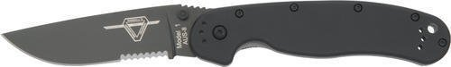 Ontario ON8847 Folding Knife Rat 1 Partial Serrated Black Finish Blade 5'', Folder for Camping Hiking Hunting Survival Self Defence and practical use + EBOOK