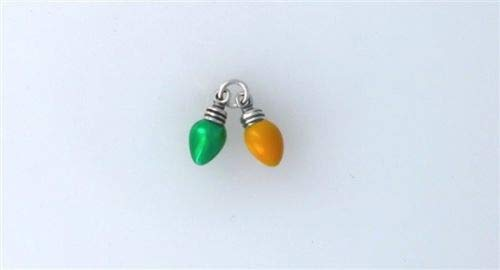 (Sterling Silver Movable Enameled 3-D Yellow Green Christmas Lights Charm - Jewelry Accessories Key Chain Bracelet Necklace Pendants )