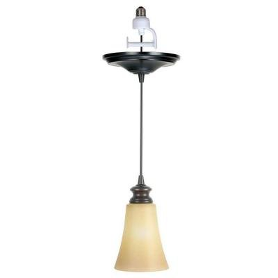 Worth Home Products Instant Screw In Pendant Light with Amber Suede Glass Shade