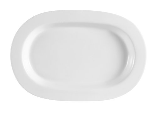 CAC China RCN-94 Clinton Rolled Edge 14-Inch by 9-1/4-Inch Super White Porcelain Rectangular Platter, Box of 12