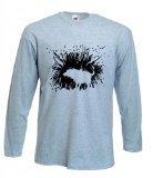 Tribal T-Shirt Men's Banksy Shaking Dog Long Sleeve T-Shirt Large Grey