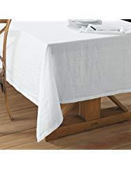 Echelon Home LIN TC90 EGG Washed Belgian Linen White Tablecloth 68x90, Eggshell