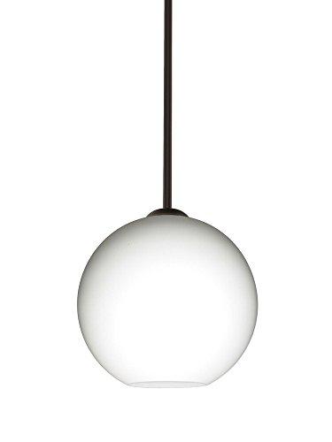Br Pendant 1 Light Stem (Besa Lighting 1TT-COCO807-BR Coco 8 - One Light Stem Pendant, Bronze Finish with Opal Matte Glass)