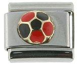 18K gold & Surgical Steel Soccer ball Red and Black Italian Charm Bracelet (Italian Ball Gold Soccer)