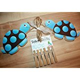Blue and Brown Mod Turtle Wooden Wall Art DISPLAY CLIPS for Kids Bedroom Baby Nursery Playroom - Turtle Mod Art Wall