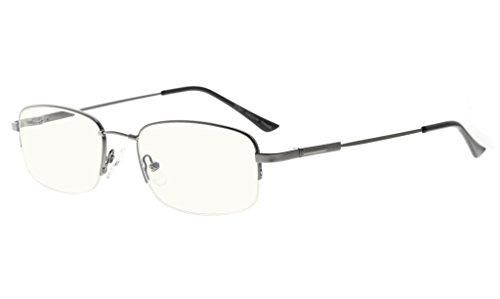 Eyekepper Blue Light Blocking Eyeglasses Bendable Titanium Memory Readers Half-Rim Computer Glasses,Transparent Lens - Eyeglasses Bendable Titanium