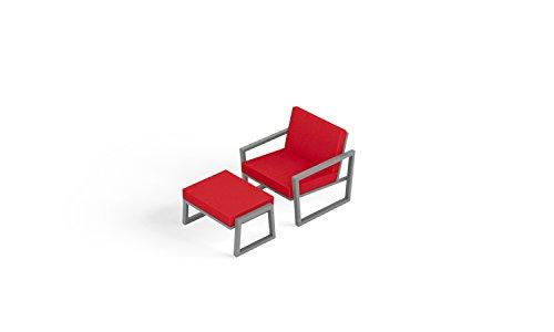 Elan Furniture VLS-110 Ottoman Vero Outdoor Lounge Set, Logo Red