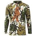 (Predator Camo Lightweight Poly Henley Shirt-Spring Green-3XL)