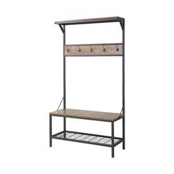 3 Shelf 39 in. Wide Metal/Wood Hall Tree in Antique Wood Color Wood and Stainless Steel Material Entryway Furniture by AVA Furniture