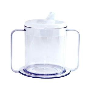 (Alimed PSC Independence Mug with 2-Handle and Lid 9 oz, Crystal Clear, Plastic)