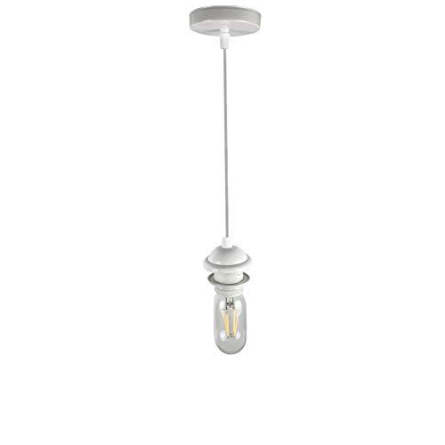 Jorunhe Ceiling Light Pendant Fitting Vintage Retro Modern E27 Lamp Holder Suspension Ceiling Pendant Light Fitting Kit (White)
