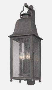 Troy Lighting B3213 Larchmont – Four Light Outdoor Wall Lantren, Aged Pewter Finish with Clear Seeded Glass
