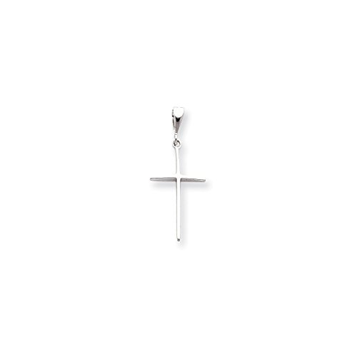 ICE CARATS 14kt White Gold Cross Religious Pendant Charm Necklace Latin Fine Jewelry Ideal Gifts For Women Gift Set From Heart (White Gold Cross Charm Pendant)