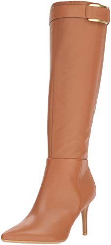 Calvin Klein Women's GLYDIA Knee High Boot, Cognac Leather, 7.5 M US -