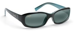 Maui Jim Punchbowl 219-03 Polarized Rectangular Sunglasses,Black & Blue Frame/Neutral Grey Lens,One - Maui Jim Womens