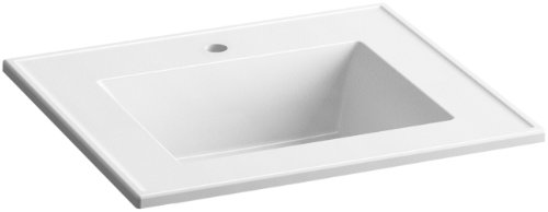 KOHLER K-2777-1-G81 Ceramic/Impressions 25-Inch Rectangular Vanity-Top Bathroom Sink with Single Faucet Hole, White Impressions (Rectangular Vanity Top)