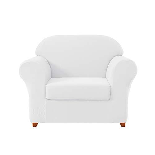 DyFun 2-Piece Knit Spandex Stretch Dining Room Sofa Slipcovers (Chair, White)