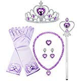 Finrezio Sofia Princess Cosplay Set Girls Costume Party Favor Jewelry Set Gloves Crown Wand Necklace Earrings Ring Kids (A:Purple) (Sofia Princess Crown)