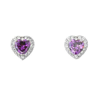 (14k White Gold Simulated Birthstone and CZ Heart Halo Stud Earrings, Simulated Amethyst)