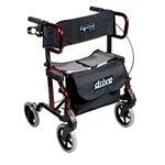 (Drive Medical Diamond Deluxe Aluminum Transport Wheelchair/Rollator, Cherry Red)
