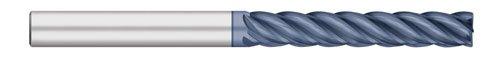 Titan TC27928 Solid Carbide End Mill, Extra Long Length, 5 Flute, Corner Radius, ALCRO-Max Coated, 1/4