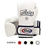 Fairtex Muay Thai Boxing Gloves BGV9 - Heavy Hitter Mexican Style - Minor Change Black with Yellow Piping 12 14 16 oz. Training & Sparring Gloves for Kick Boxing MMA K1 (White w/Blue Piping, 16 oz)