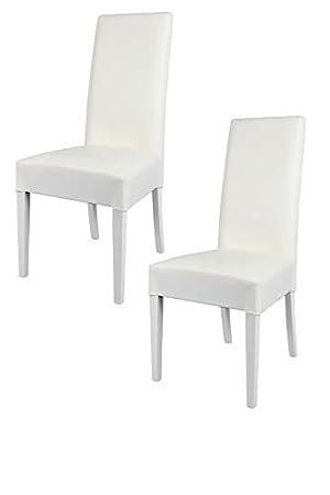 Tommychairs sillas de design - Set de 2 sillas LUISA para cocina, bar y restaurante, con estructura en Madera de haya y asiento tapizado en polipiel ...