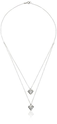 Sterling Silver White Cubic Zirconia 5mm Diamond Cage Layered Necklace, 16