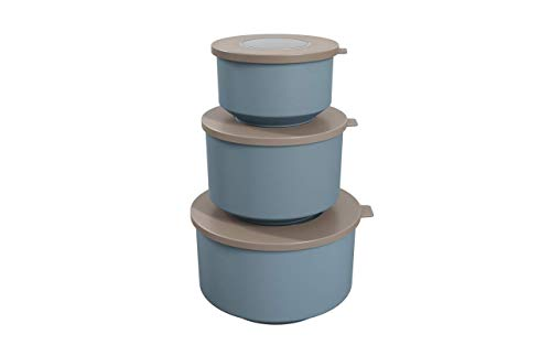 Coza- Hoop Collection- Leak Proof Food Container with Air Tight Lids Set of 3 (6 Pieces Total)- BPA Free & Microwave Safe (Warm Gray & Blue Fog)