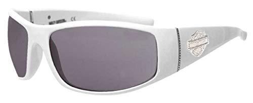 Harley-Davidson Women's Bling Bar & Shield Sunglasses, White Frame & Smoke ()