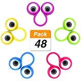 Jovitec 48 Pieces Googly Eye Finger Puppets Wiggly Eyeball Finger Puppet Rings Eye Finger Toy for Kids Party Favor, 5 Colors ()