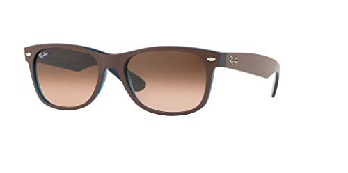 Contemporary Matte - Ray-Ban RB2132 NEW WAYFARER 6310A5 55M Matte Chocolate On Opal Blue/Pink Brown Gradient Sunglasses For Men For Women