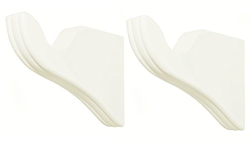 White Wood Pole Curtain Rod Brackets-1 Pair (For 1 3/8