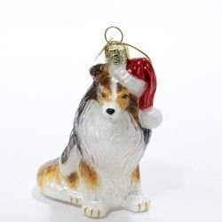 Kurt Adler Noble Gems Shetland Sheepdog Glass Christmas Ornament