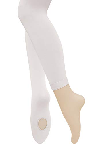 Dancina Footless Tights for Girls Teenagers' Ballet Training Practice Leggings Women's M/L White x2
