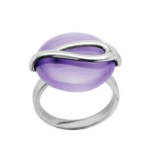 1001 Bijoux - Bague argent rhodié oeil de chat violet