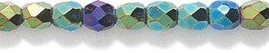 Oval Czech Glass Beads (Preciosa Czech 3-mm Fire-Polished Glass Bead, Faceted Round, Green Iris, 300/pack)