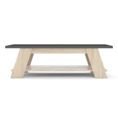 Price comparison product image Wood Coffee Table with 1 Shelf - Coffee Table with Beige Legs - Gray